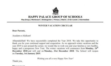 Winter Vacation Circular