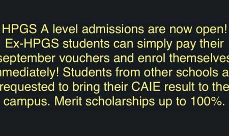 HPGS A Level Admissions are Open