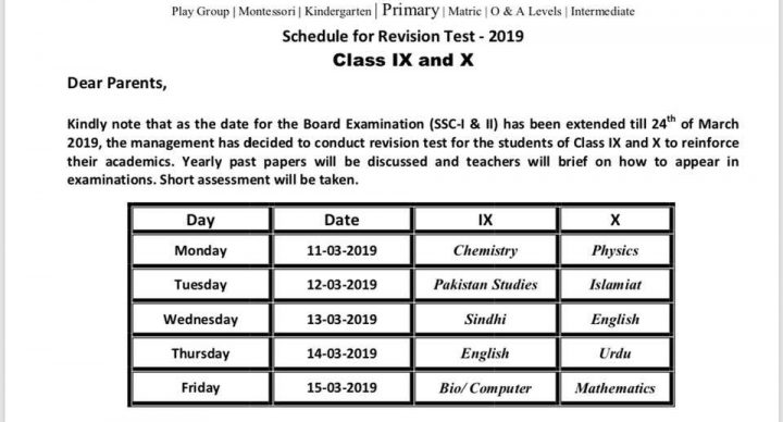 Schedule For Revision Test 2019