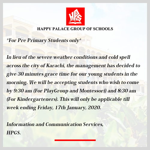 Notice For Pre Primary Students